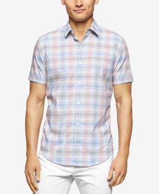 Calvin Klein Men's Short Sleeve Slim Fit Large Twill Check Shirt