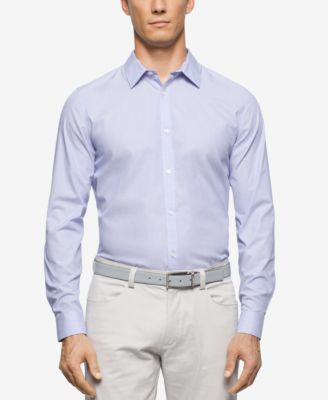 Calvin Klein Men's Cool Tech Mini-Stripe Poplin Shirt