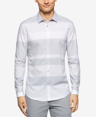 Calvin Klein Men's Long Sleeve Wide Horizontal Stripe Shirt