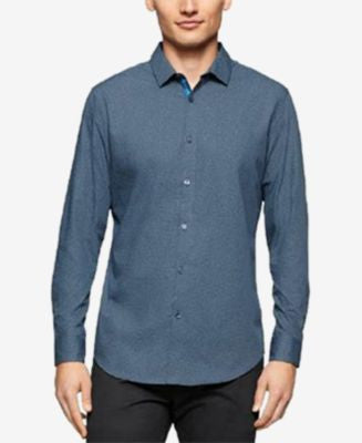 Calvin Klein Men's Long Sleeve Micro Star Print Shirt