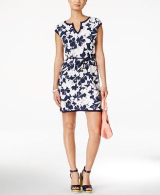 Tommy Hilfiger Floral-Print Belted Dress