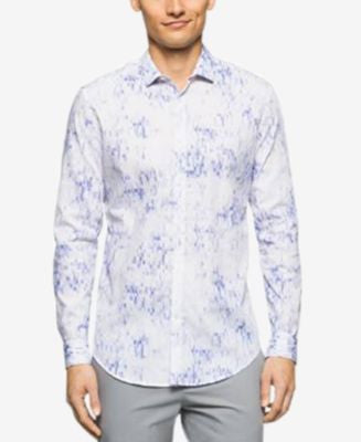 Calvin Klein Men's Long Sleeve Pixelated Square Print Shirt