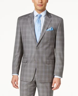 Shaquille O'Neill Collection Men's Classic-Fit Blue and Grey Glen Plaid Jacket, Only at Vogily