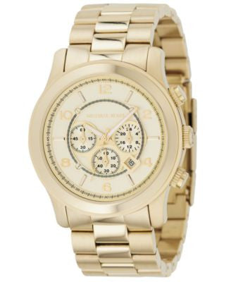Michael Kors Men's Chronograph Runway Gold-Tone Stainless Steel Bracelet Watch 44mm MK8077