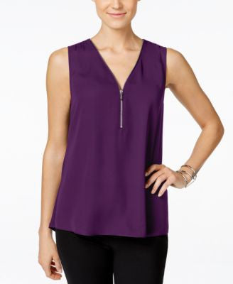 INC International Concepts Zip-Front Knit-Back Top, Only at Vogily