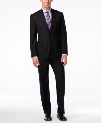 Shaquille O'Neal Collection Big and Tall Black Texture Suit Separates