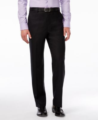 Shaquille O'Neal Collection Big and Tall Black Textured Classic-Fit Pants, Only at Vogily
