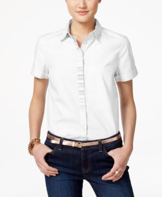 Tommy Hilfiger Short-Sleeve Ruffled Shirt