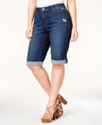 Style & Co. Plus Size Distressed Normandy Wash Denim Bermuda Shorts, Only at Vogily