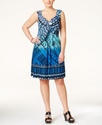 Style & Co. Plus Size Printed Twist-Front Dress, Only at Vogily