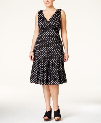 Style & Co. Plus Size Printed Tiered A-Line Dress, Only at Vogily
