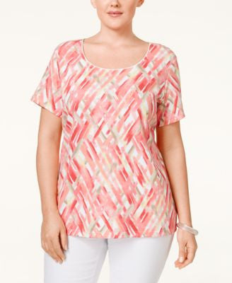Karen Scott Plus Size Plaid Top, Only at Vogily