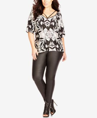 City Chic Plus Size Floral-Print Top