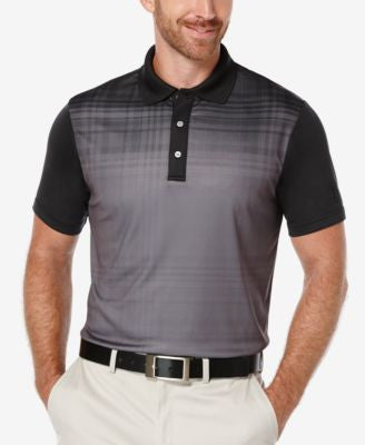 PGA TOUR Men's Fading Plaid Colorblocked Polo Shirt