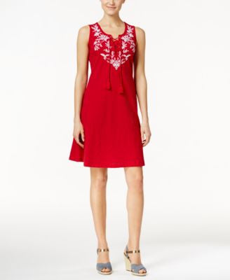 Style & Co. Embroidered Lace-Up Peasant Dress, Only at Vogily