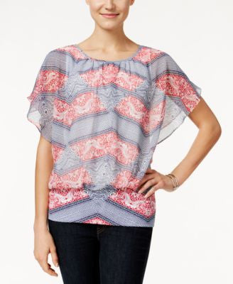 Style & Co. Printed Flutter-Sleeve Blouse, Only at Vogily
