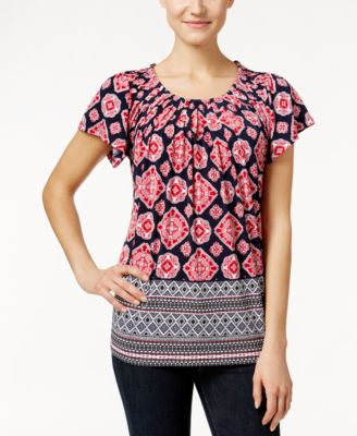 Style & Co. Printed Pleat-Neck Top, Only at Vogily