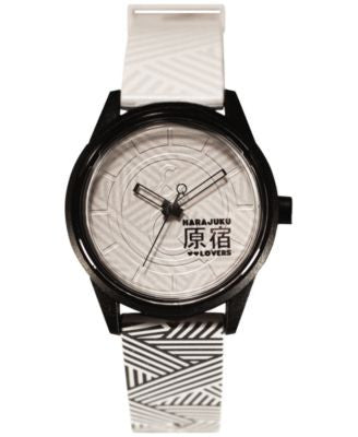 Harajuku Lovers Unisex Black & White Designed by Gwen Stefani Printed Strap Watch 40mm HL2621