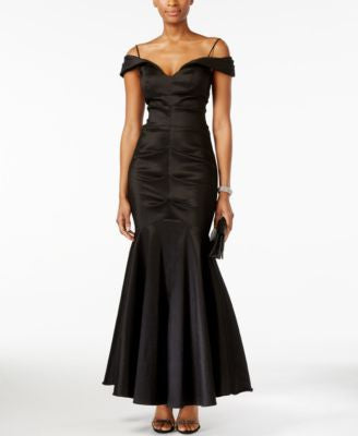 Xscape Off-The-Shoulder Ruched Mermaid Gown