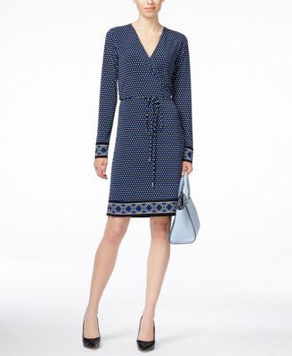 MICHAEL Michael Kors Petite Long-Sleeve Printed Wrap Dress