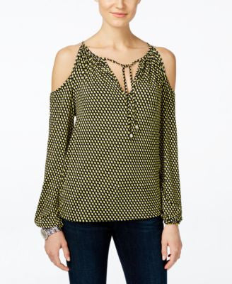 MICHAEL Michael Kors Petite Printed Cold-Shoulder Peasant Top