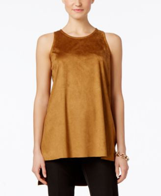 Alfani Petite PRIMA Faux-Suede Tank Top, Only at Vogily