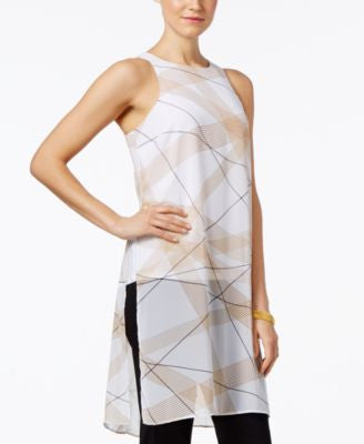 Alfani PRIMA Printed Chiffon-Overlay Top, Only at Vogily