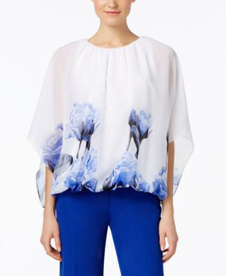 Alfani Petite Printed Kimono-Sleeve Blouson Top, Only at Vogily