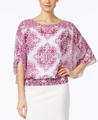 Alfani Petite Printed Dolman-Sleeve Blouse, Only at Vogily