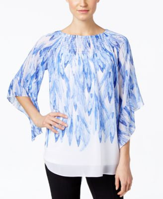 Alfani Printed Off-The-Shoulder Printed Peasant Blouse, Only at Vogily