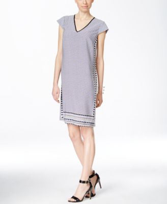 Alfani Printed Contrast-Trim Cap-Sleeve Dress, Only at Vogily