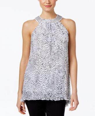 Alfani Printed High-Low Halter Blouse, Only at Vogily