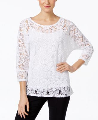 Alfani Lace High-Low Hem Blouse, Only at Vogily