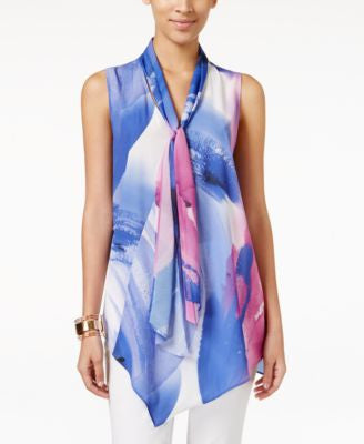 Alfani Petite Printed Tie-Front Blouse, Only at Vogily