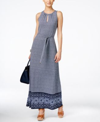 MICHAEL Michael Kors Petite Edo Border-Trim Maxi Dress
