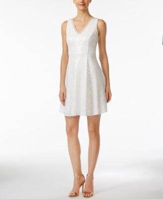 Calvin Klein Sequined Sleeveless Fit & Flare Dress