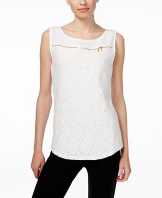 Calvin Klein Sleeveless Lace-Front Zipper Top
