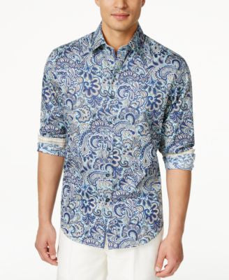 Tasso Elba Men's Paisley Button-Up Shirt, Only at Vogily
