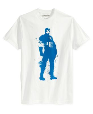Mighty Fine Men's Captain America Splatter-Print T-Shirt