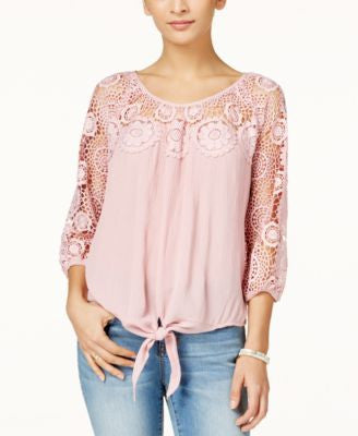 American Rag Crochet-Trim Tie-Front Top, Only at Vogily