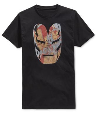 Mighty Fine Men's Iron Man Face Graphic-Print T-Shirt
