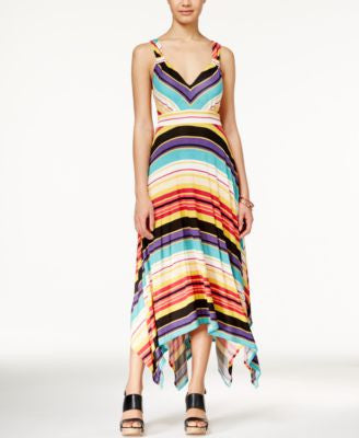American Rag Printed Handkerchief-Hem Maxi Dress, Only at Vogily