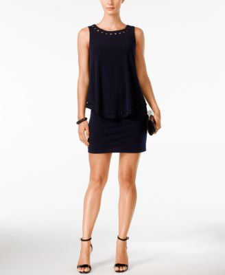 Jessica Howard Petite Embellished Cutout Popover Dress