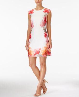 Calvin Klein Petite Floral-Print Shift Dress