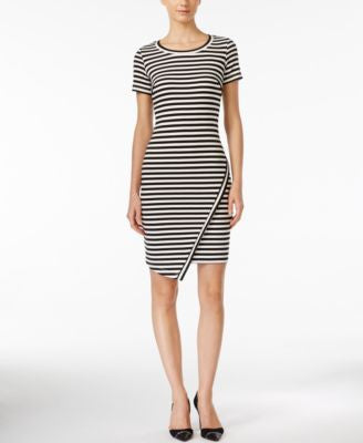 Calvin Klein Striped Asymmetrical-Hem Sheath Dress