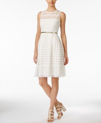 Calvin Klein Crocheted Belted Fit & Flare Dress