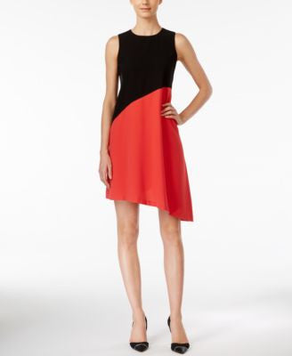 Calvin Klein Petite Colorblocked Asymmetrical Sheath Dress