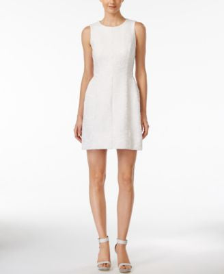 Calvin Klein Sleeveless Jacquard Fit & Flare Dress