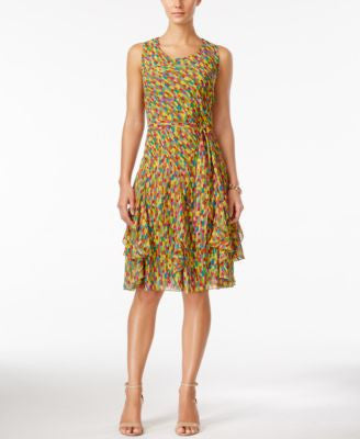 Style & Co. Printed Tie-Sash Ruffled A-Line Dress, Only at Vogily