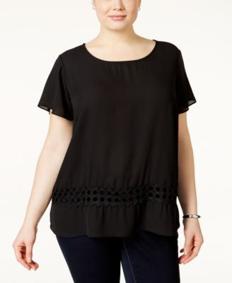 ING Plus Size Short-Sleeve Crochet Top